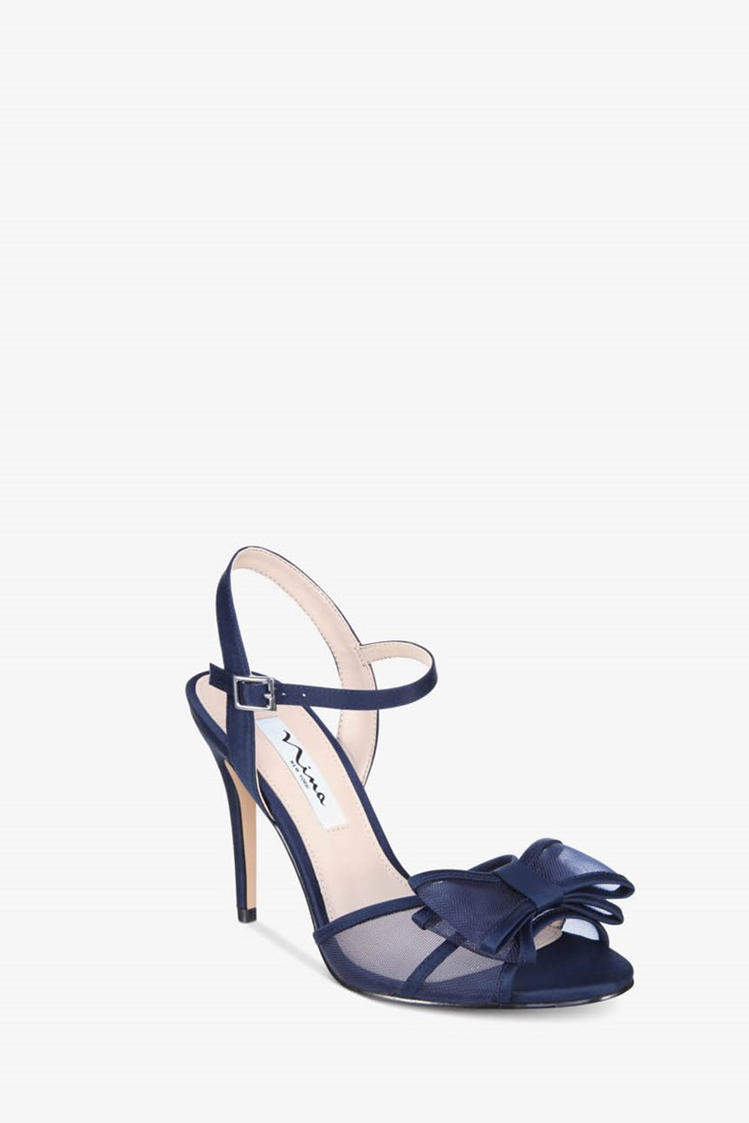 Charm Bow Evening Sandals, Navy