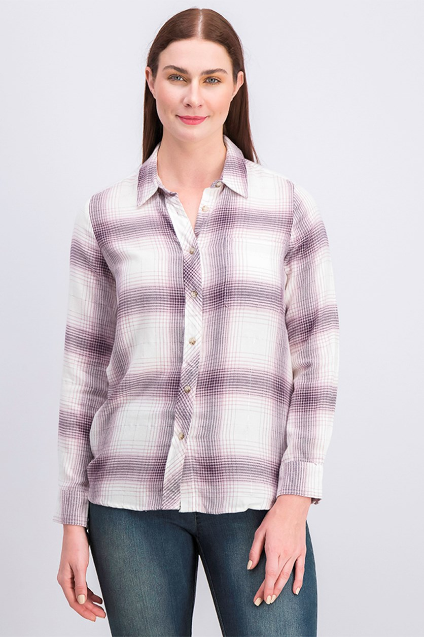 Women's Plaid Shirt, Pink/Black/White