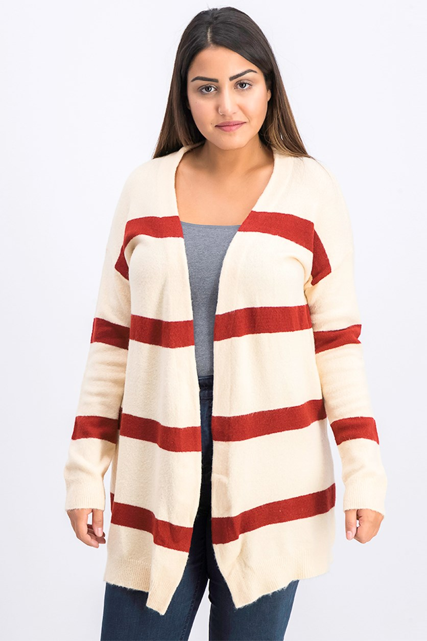 Women's Open Front Cardigan, Maroon/Peach