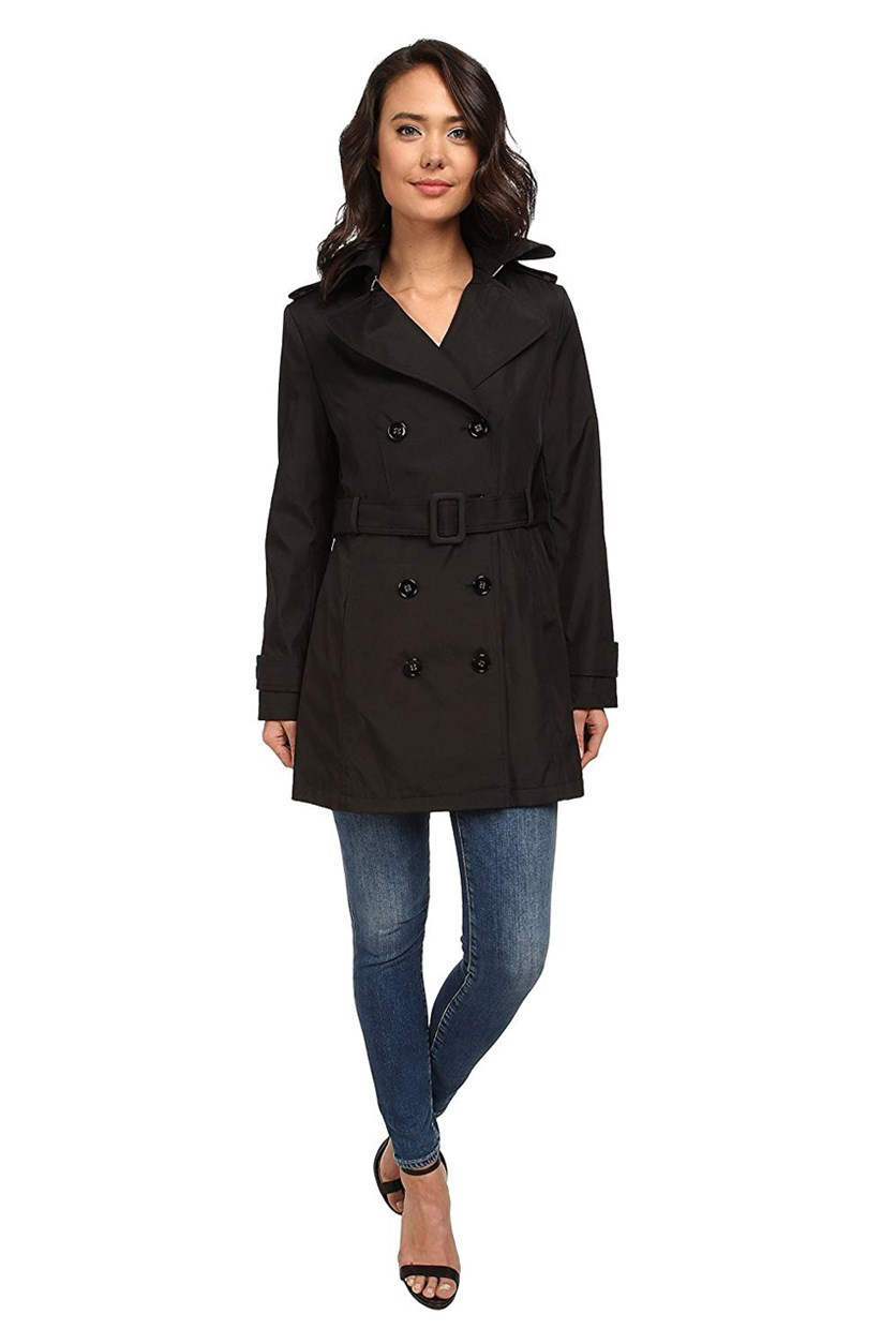Women's Belted Double Breasted Trench Coat, Black