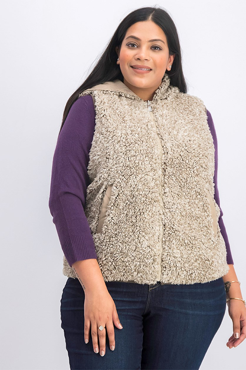 Women's Plus Size Reversible Hooded Vest, Cream/Brown