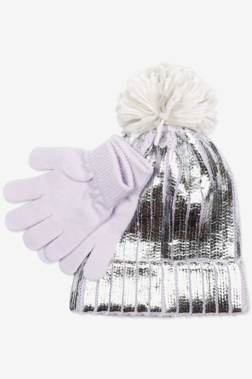 Kid's Girls Metallic Hat With Faux-Fur Pom-Pom & Gloves Set, Silver/Purple