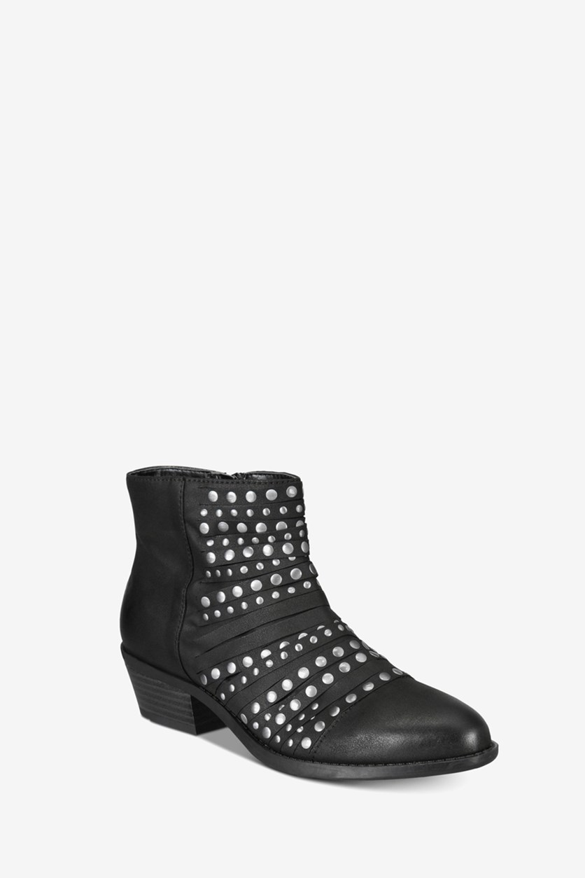 Women's Desire Faux Suede Studded Ankle Boots, Black