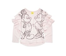 Disney Little Girls Graphic-Print Ruffle-Trim T-Shirt, Rose