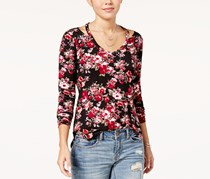 Ultra Flirt Women's Printed Cutout-Neck Top, Black/Pink