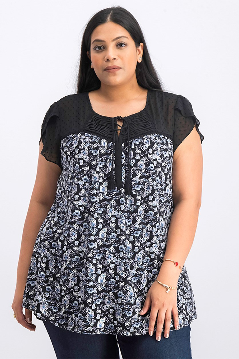Women's Floral Tops, Black Combo
