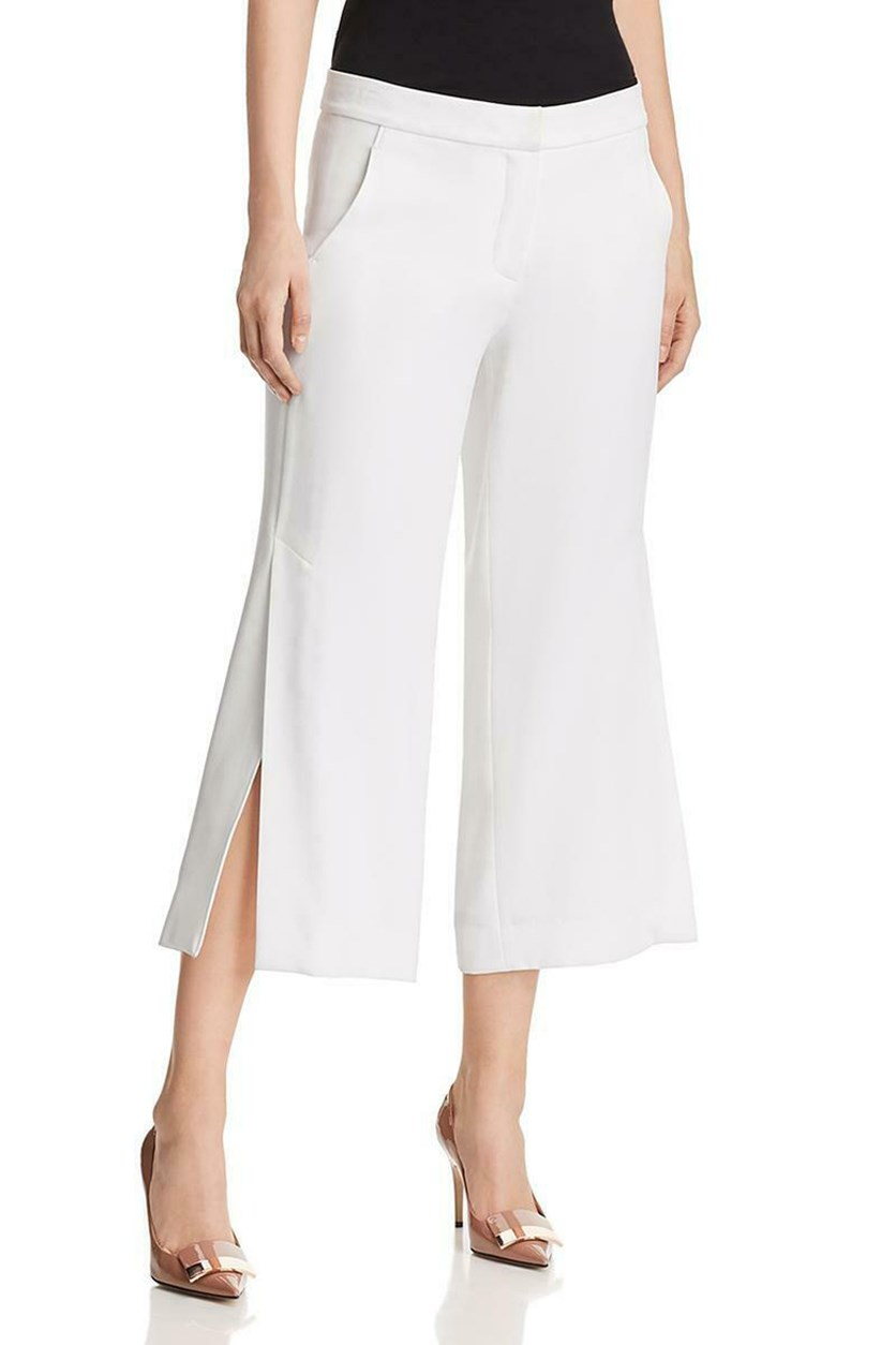 Women's Wide-Leg Side-Slit Cropped Pants,  Optic White