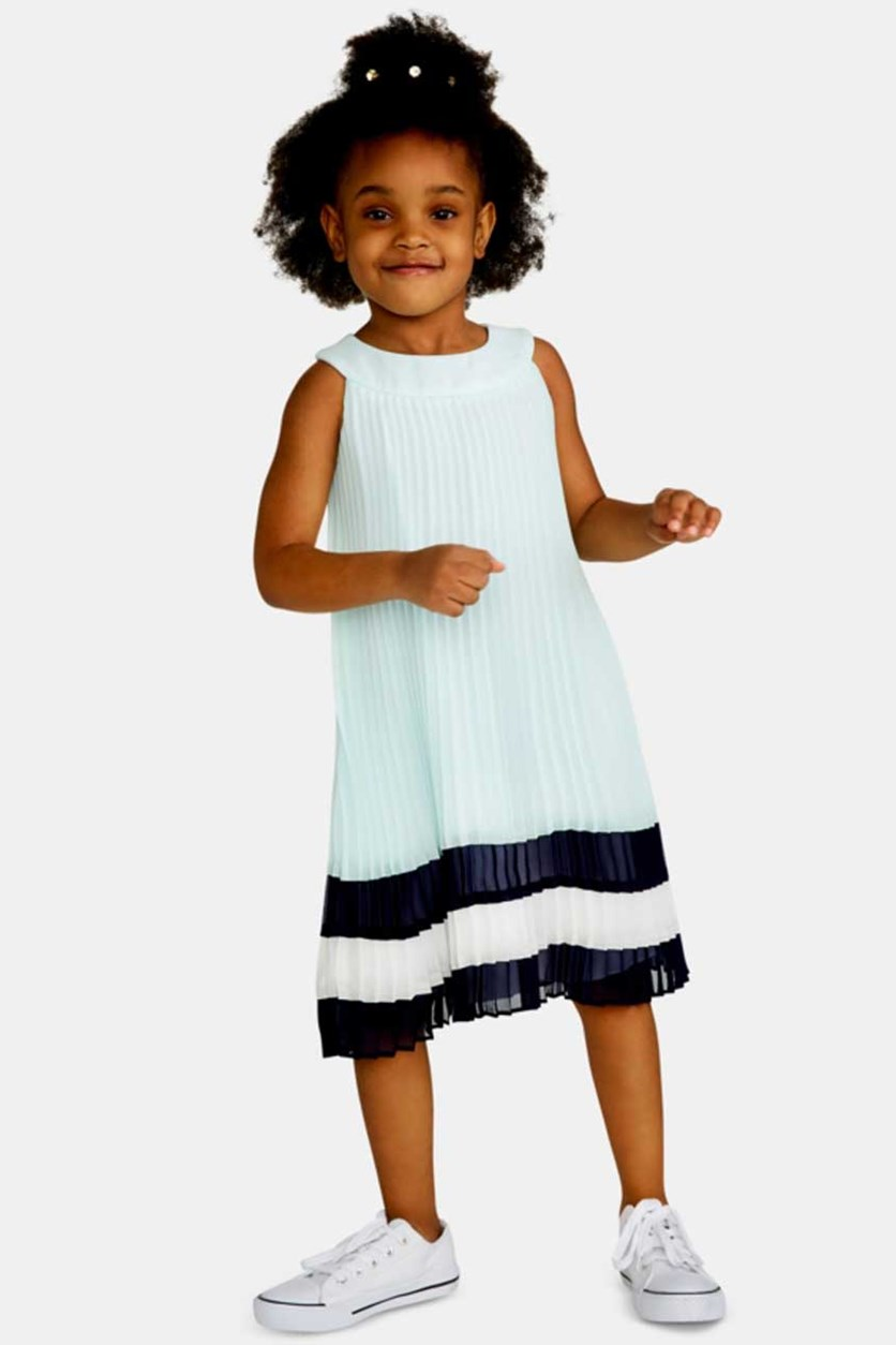 Girls Colorblocked Pleated Dress, Aqua