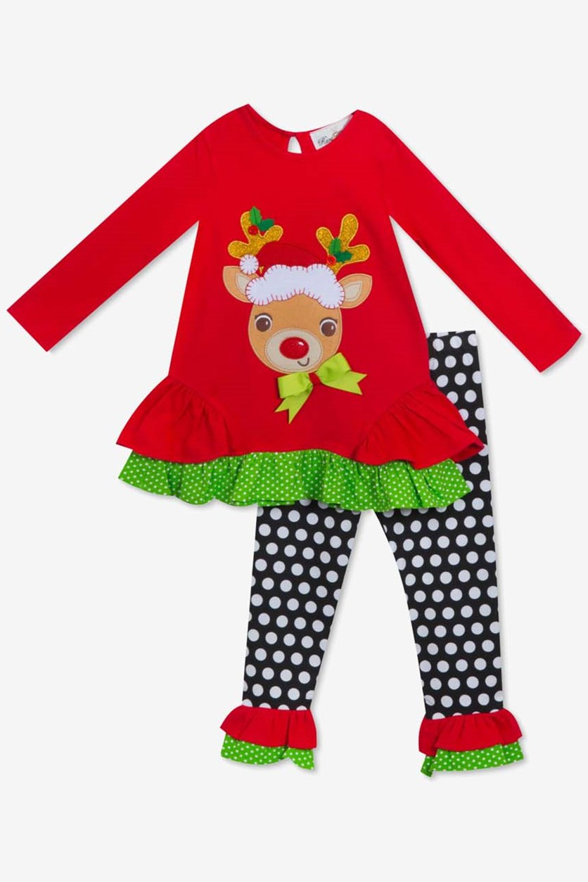 Baby Girls 2-Pc. Reindeer Top & Leggings Set, Red Combo