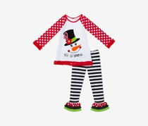 Baby Girls 2-Pc. Snowman Top & Leggings Set, White
