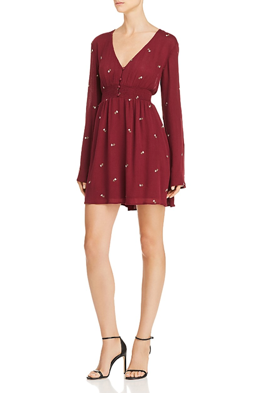 Women's Floral Print Smocked Boho Long Sleeve Smocked Mini Dress, Burgundy