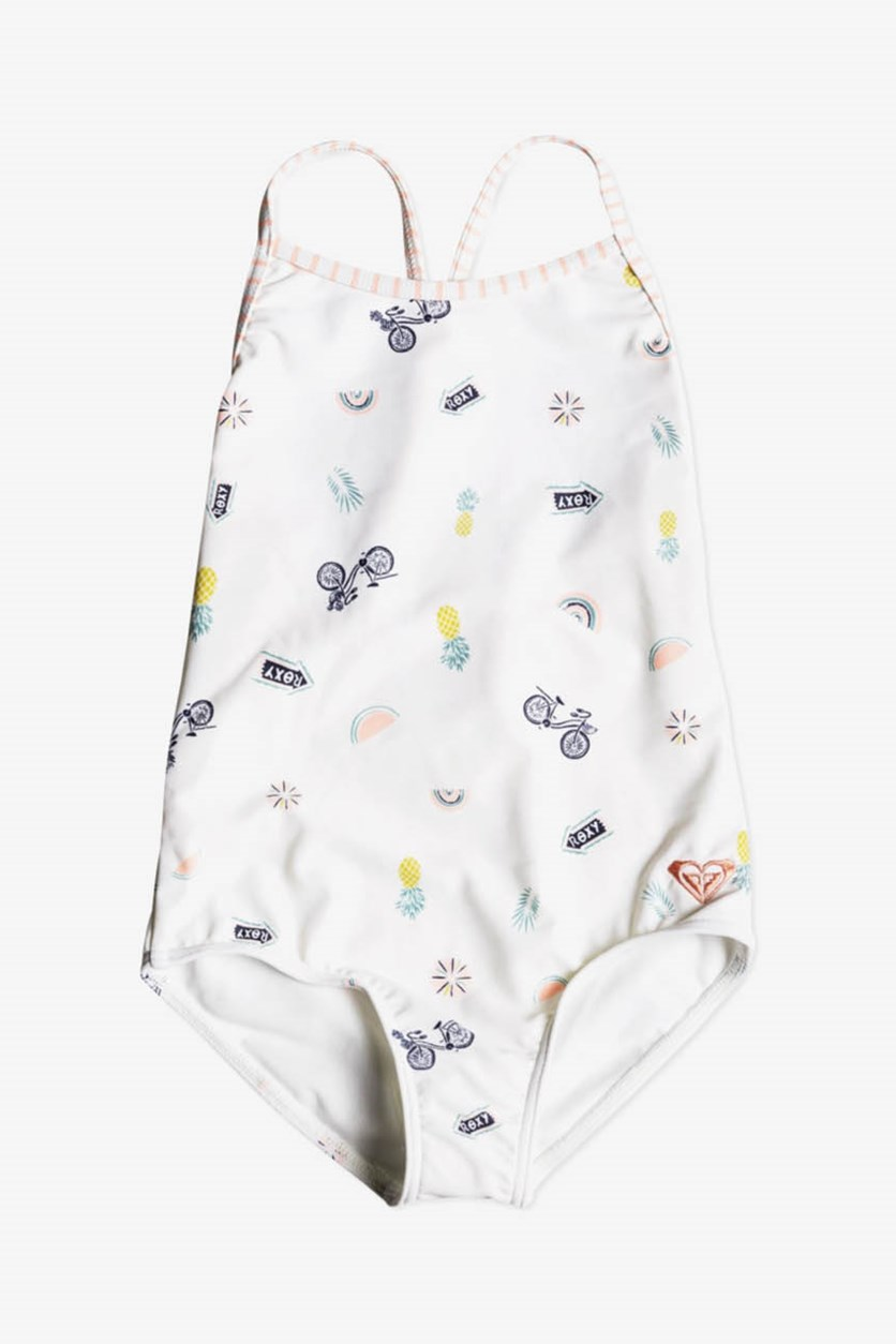 Toddler Girls Printed One-Piece Swimsuit, Marshmallow