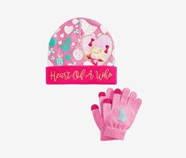 The Grinch Kid's Girls 2-Pc. Heart Of A Who Hat & Gloves Set, Pink