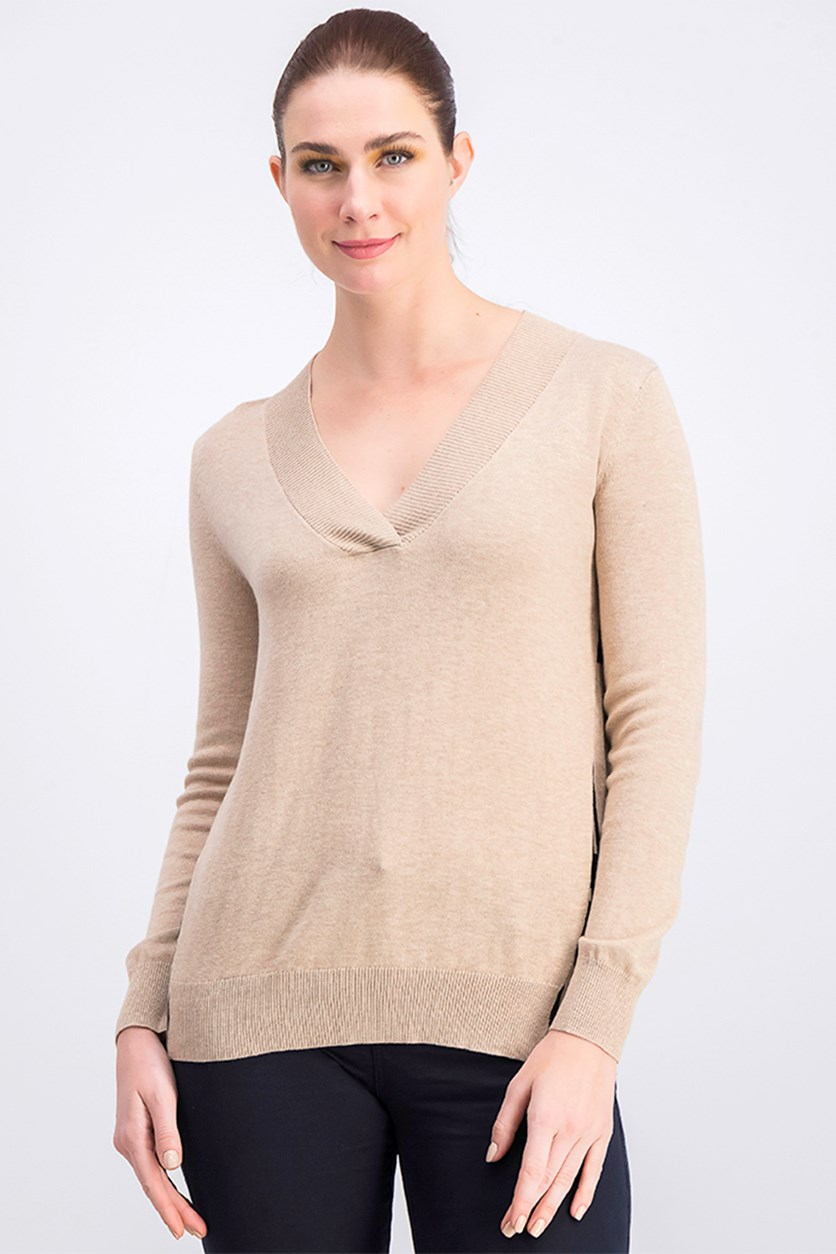 Women's V-Neck Sweater, Tan