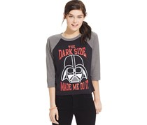 Star Wars Women's Darth Vader Graphic Baseball T-Shirt, Gray/Black