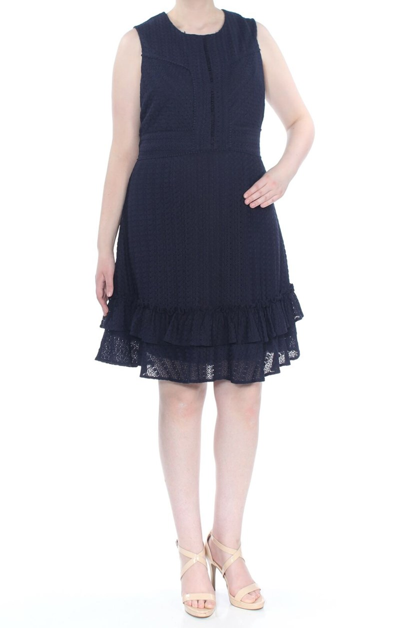 Plus Size Ruffled Sleeveless Knee Length Evening Dress, Navy