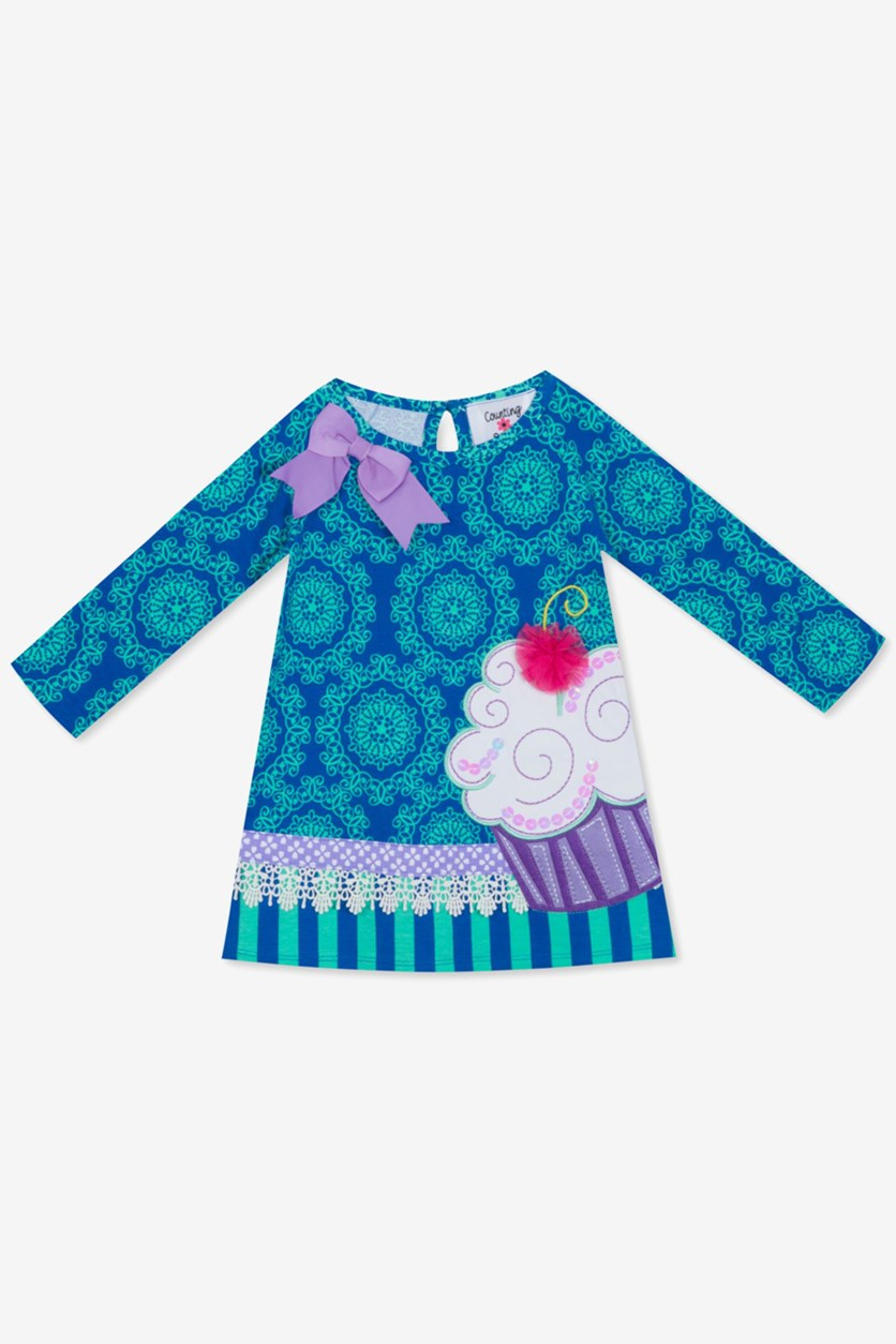 Baby Girls Printed Cupcake Dress, Blue/Mint