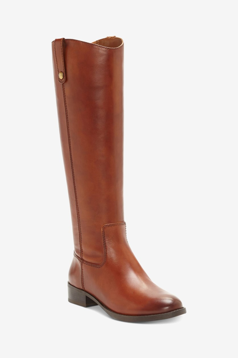 Women's Fawne Riding Leather Boots, Cognac