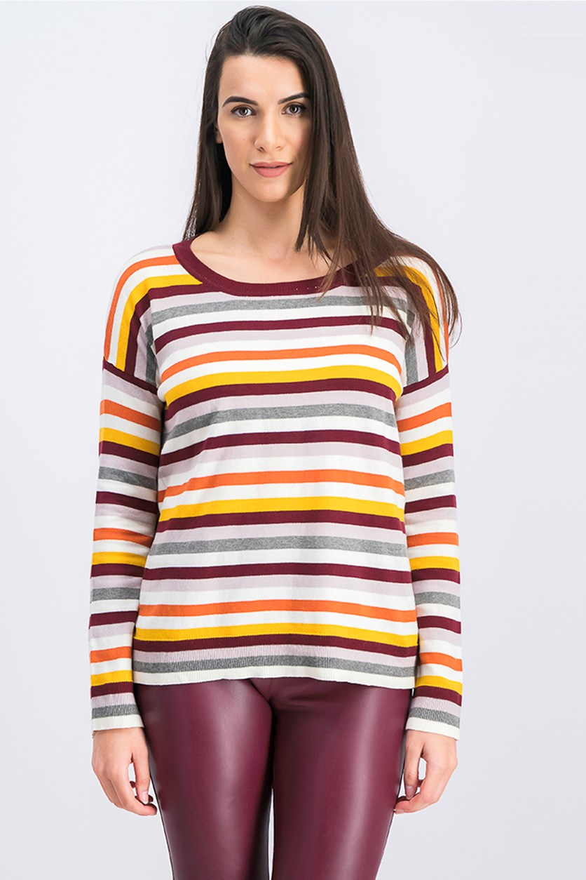 Women's Stripe Pullover Sweater, Grey/Maroon Combo