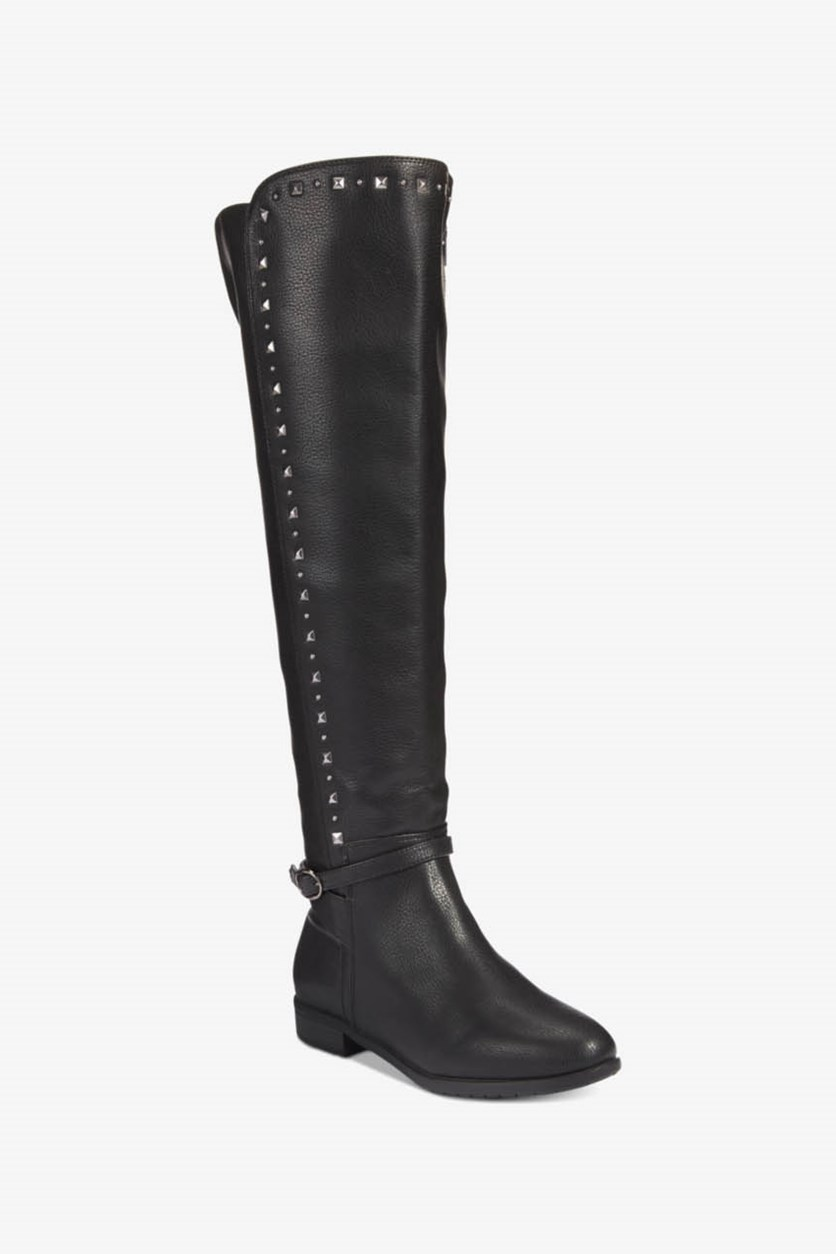 Women's Ferrell Leather Knee-High Riding Boots, Black