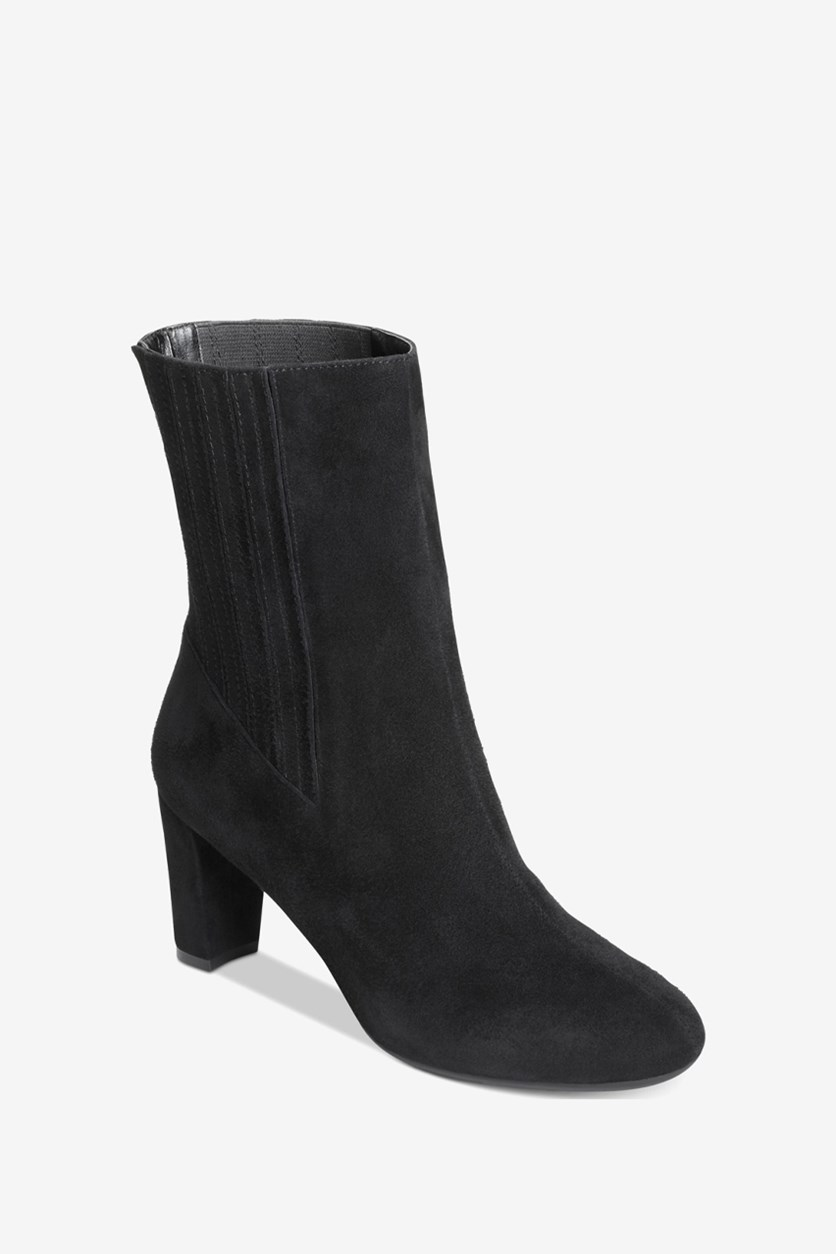 Fifth Ave Mid Calf Boots, Black Suede