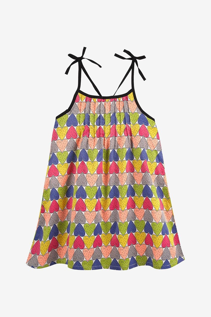 Baby Girls' Heart Print Dress with Shoulder Ties, Pink/Yellow Combo