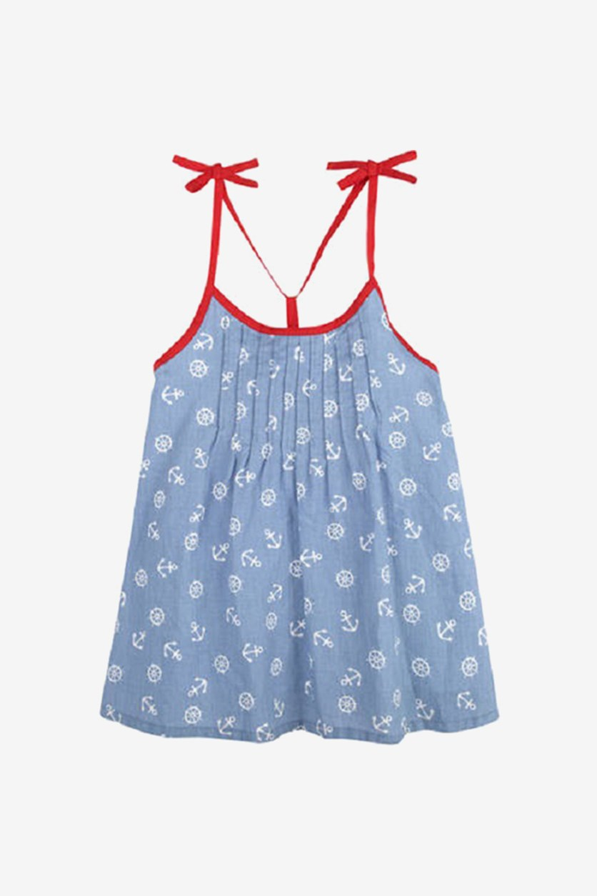 Baby Girls' Anchor Dress with Shoulder Ties, Blue