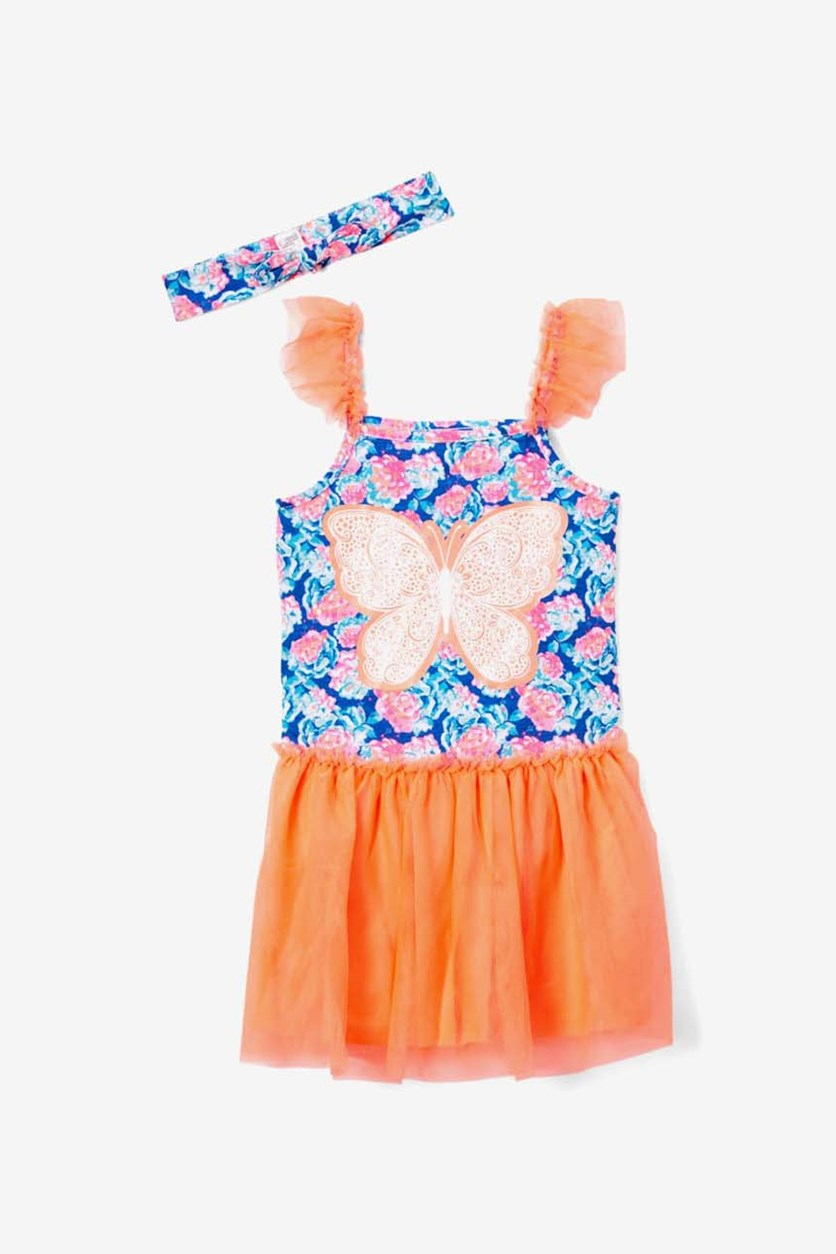 Girl's Floral Butterfly Sleeveless Dress & Headband, Coral