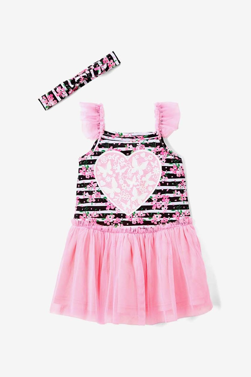 Girls Heart & Butterfly Floral Dress & Headband, Light Pink/Black