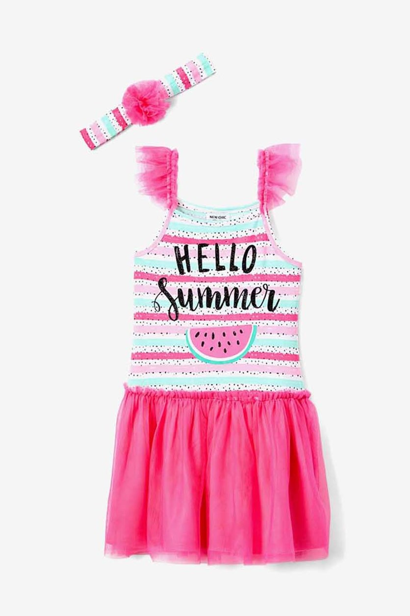 Girls Hello Summer Watermelon Dress & Headband, Carmine Rose