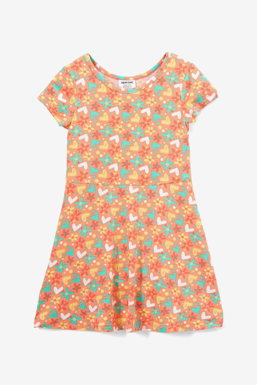 Girls Hearts & Flowers Skater Dress, Orange Como