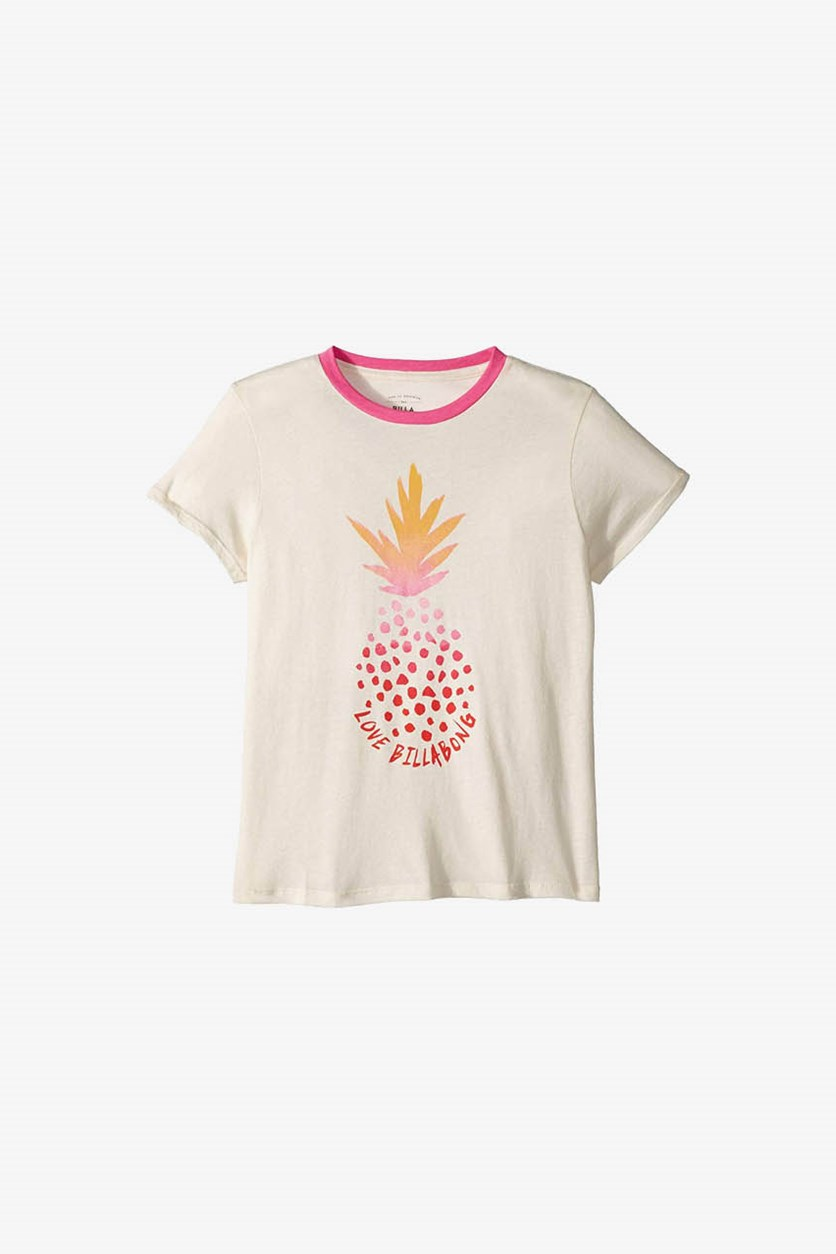 Girl's Pineapple Print Tee, Ivory