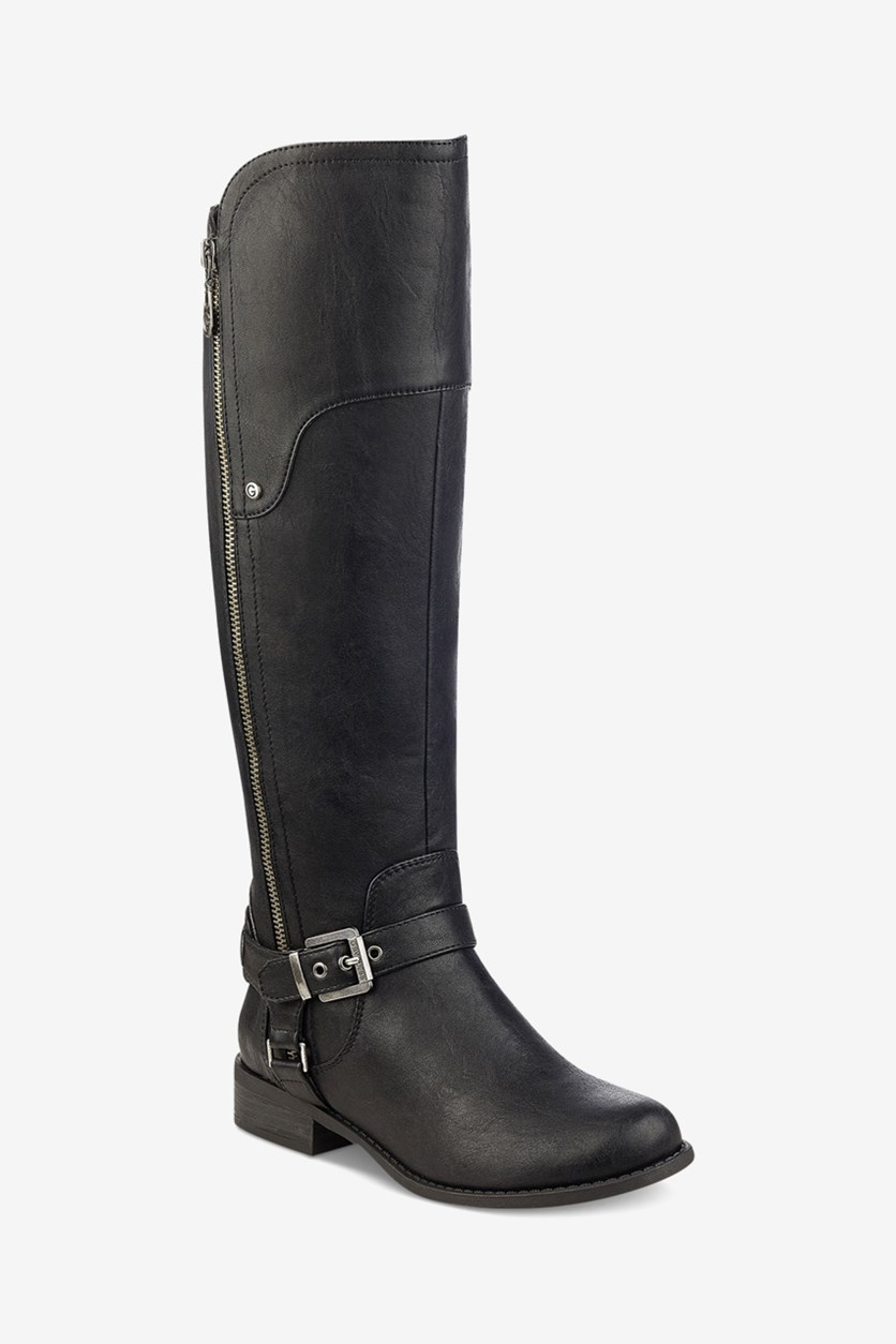 Women's Harson 5 Wide Calf Faux Leather Riding Boots, Black