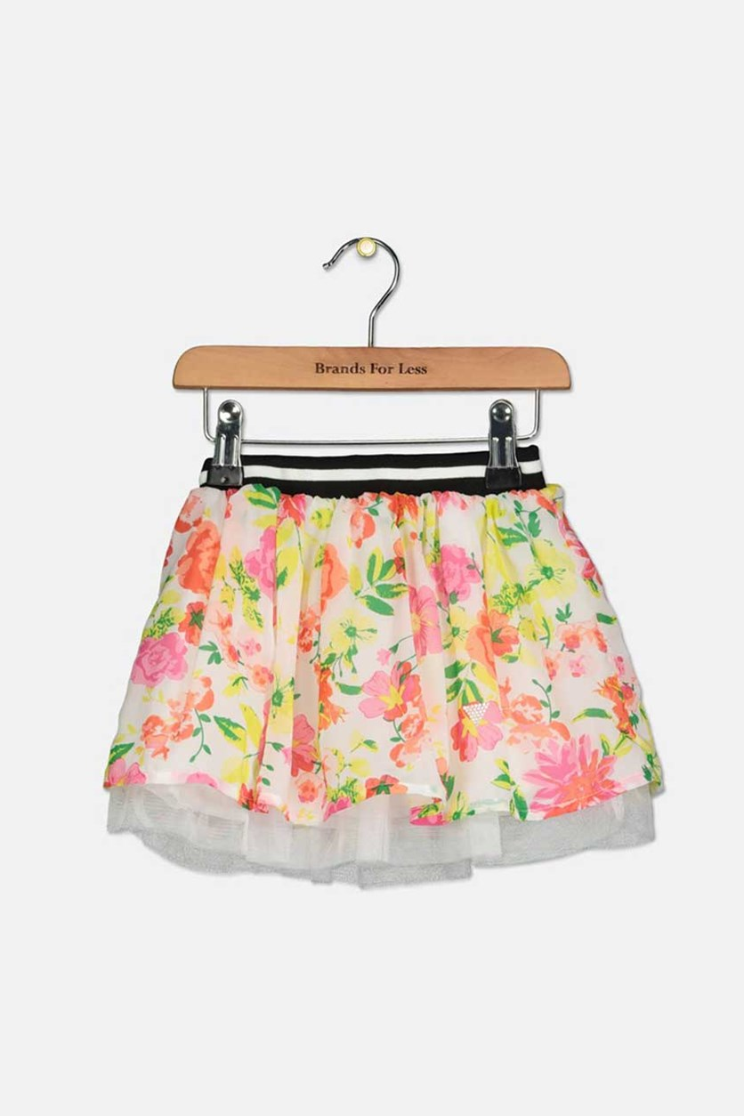 Kids Girls Floral Flared Skirt, White/Pink/Yellow