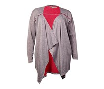 G.H. Bass & Co. Women's Open Front Draped Cardigan Sweater, Heather Grey Combo