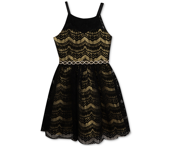 Rare Editions Girl's Metallic Lace Party Dress, Black/Gold