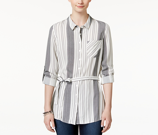 Hippie Rose Junior's Belted Button-Front Tunic Shirt, White