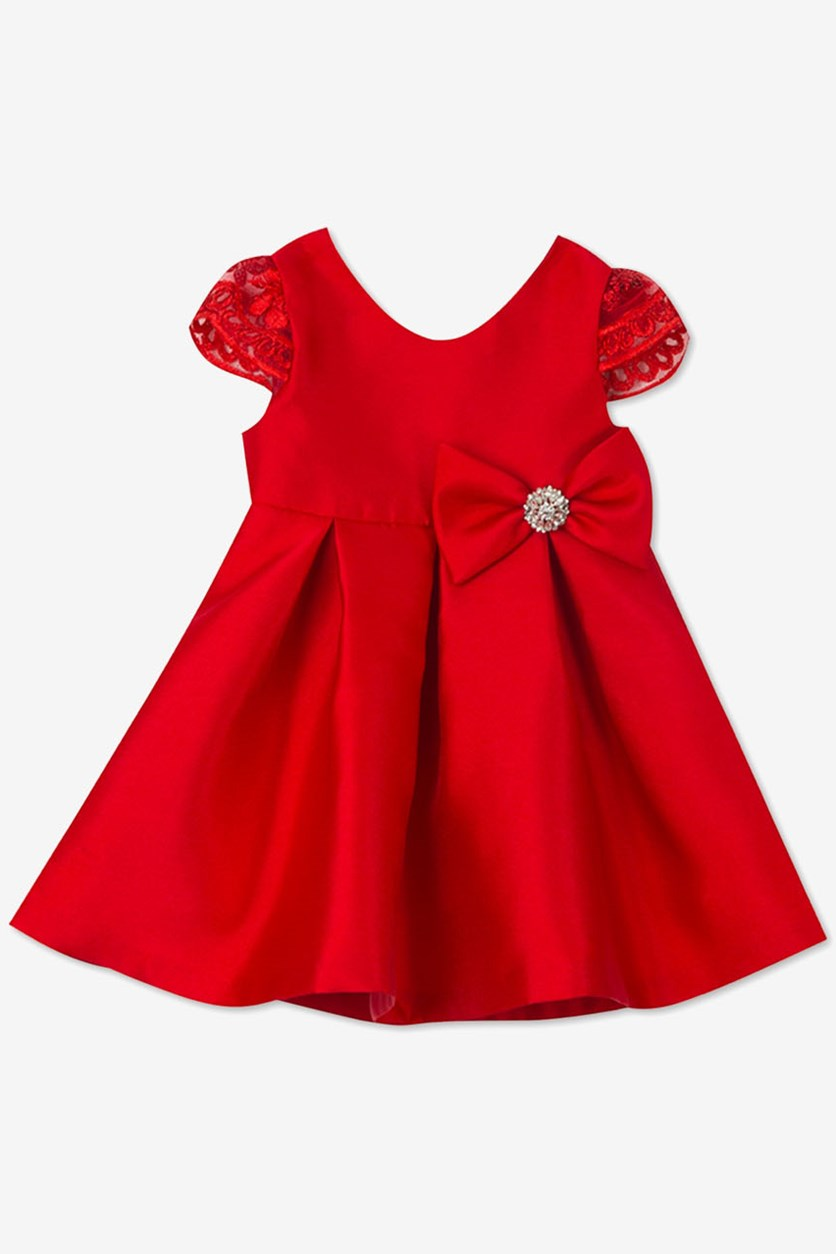 Kids Girls Satin Fit & Flare Party Dress, Red