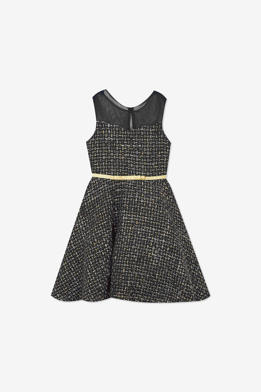 Little Girls Illusion Tweed Fit & Flare Dress, Charcoal