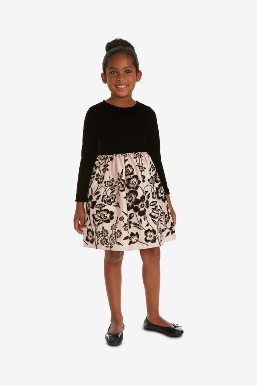 Toddler Girls Velvet Satin Flocked Dress, Black