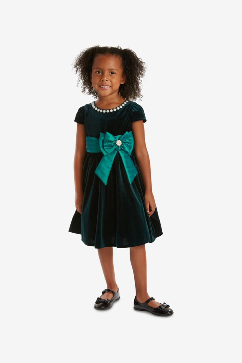 Toddler Girls Velvet Fit & Flare Party Dress, Emerald