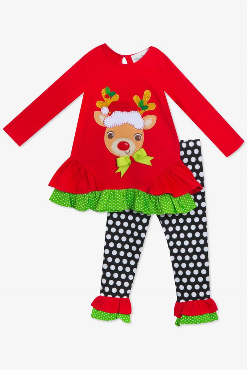 Little Girls 2-Pc. Reindeer Tunic & Leggings Set, Red