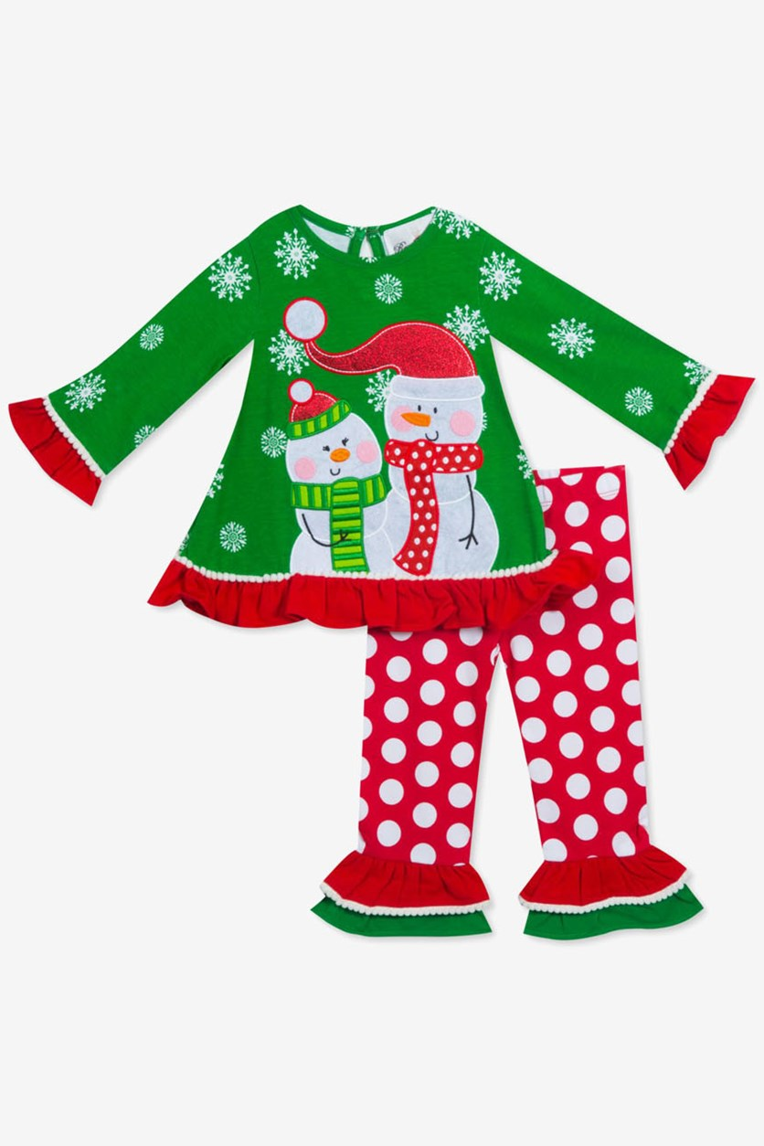 Baby Girls 2-Pc. Snowman Top & Leggings Set, Red