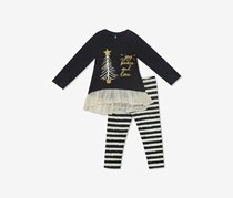 2-Pc. Knit Holiday Tunic & Striped Leggings Set, Charcoal