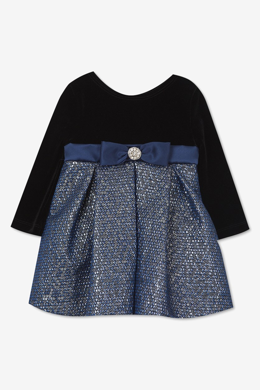 Rare Editions Baby Girls Velvet & Brocade Dress, Navy