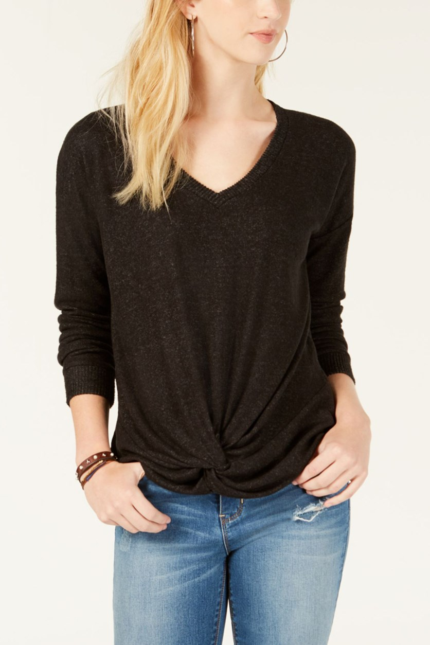 Juniors' Twist-Front Top, Black/Charcoal Marled