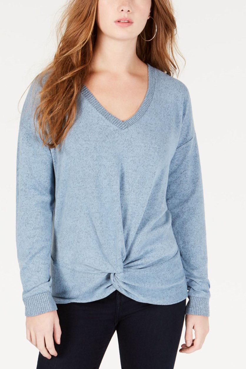 Juniors' Twist-Front Top, Blue Chill/Black Marled