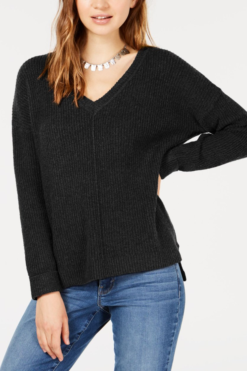 Juniors' Mossy Ribbed-Knit Sweater, Black