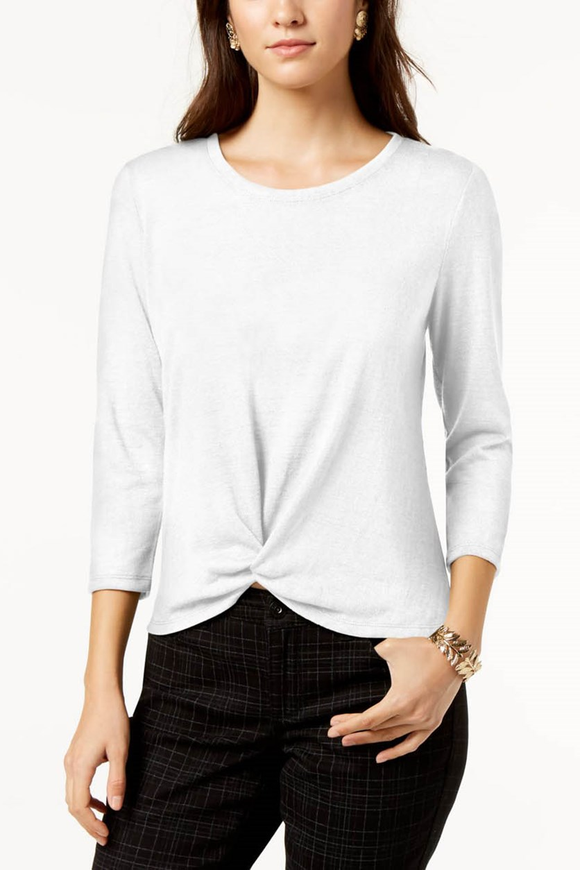 Petite Knot-Front Top, White