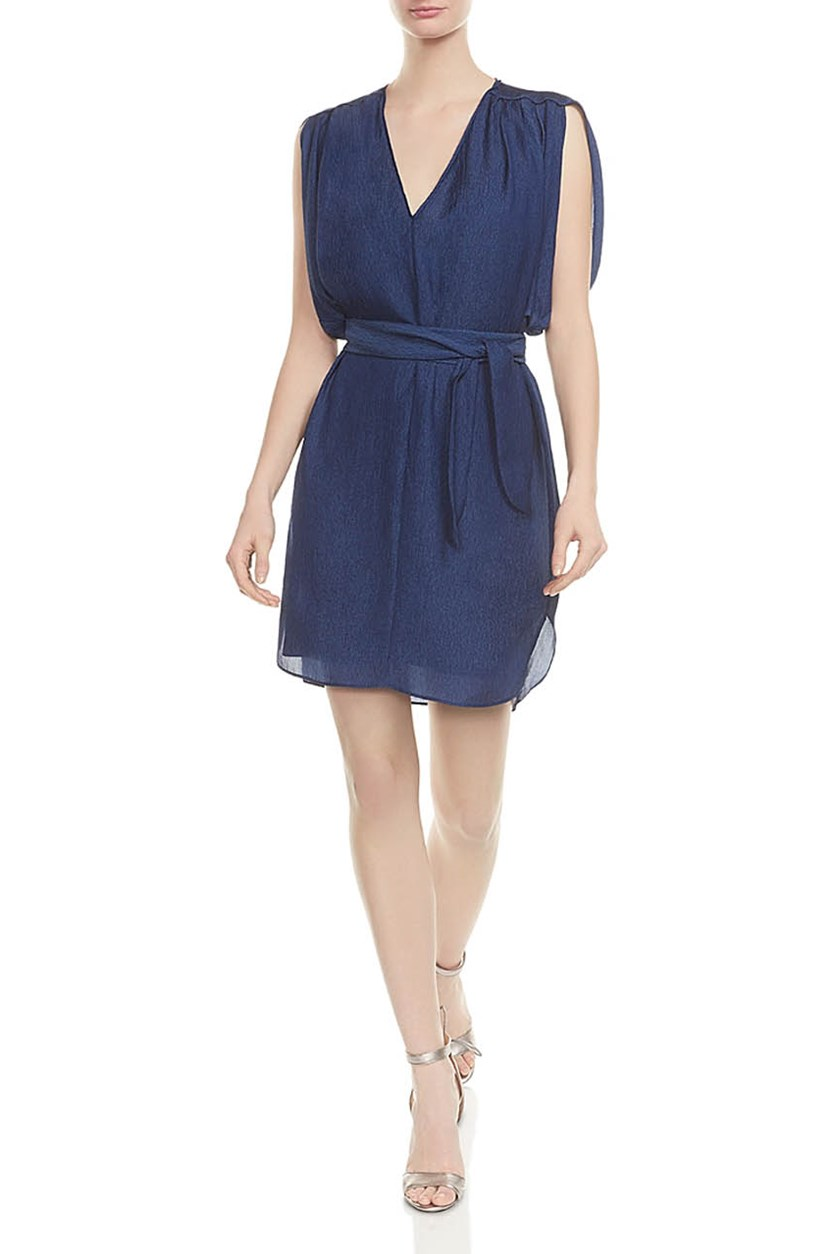 Women's V-Neck Belted Crepe Dress, Navy